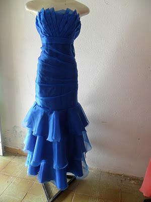 Vestido Longo Azul de Organça
