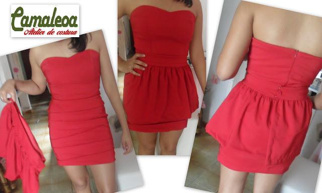Vestido top vermelho de saia removível