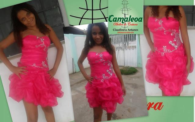 Vestido Rosa Curto de Organça