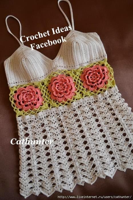 Blusa em Crochet com flores