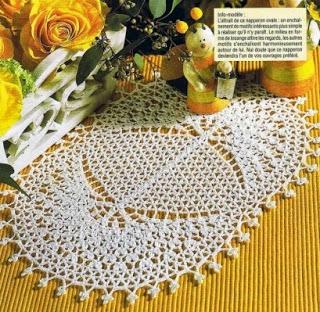 Toalinha  de Mesa Oval em Crochet