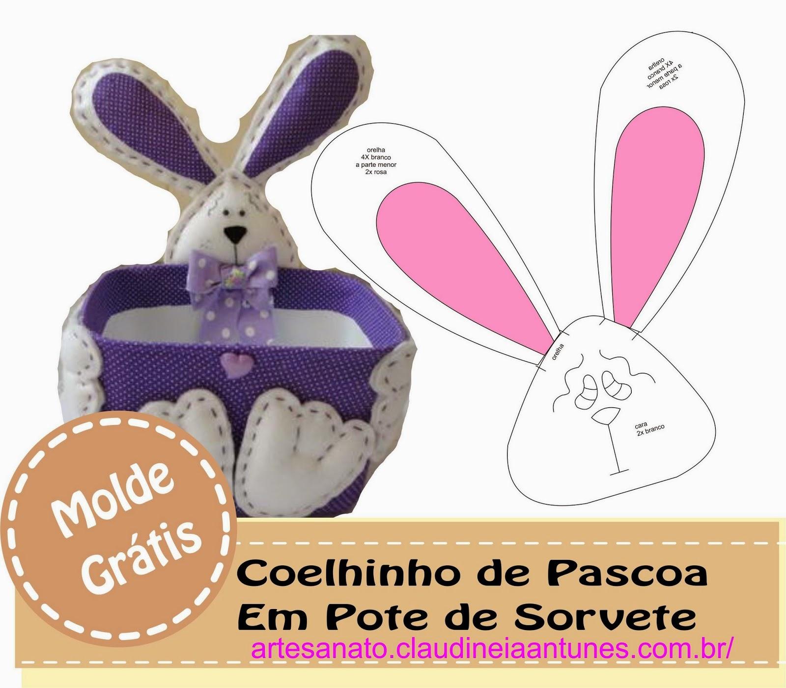 Reciclando Pote de Sorvete Com Coelhinho de Pascoa – Por Mariana Damas