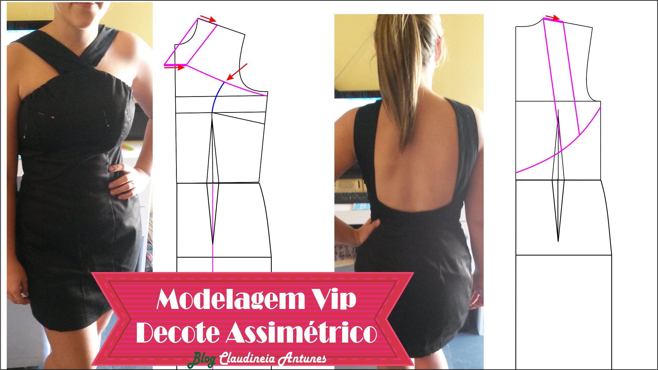 Modelagem Decote Assimétrico Vestido