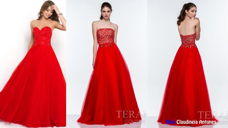 90 Modelos de Vestidos Longo e Vermelho