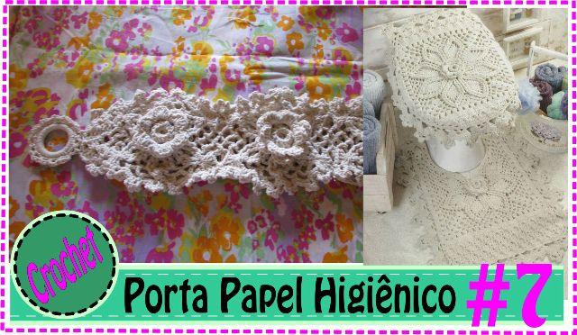 Porta Papel   – Jogo de Banheiro em Crochet em Barbante #7