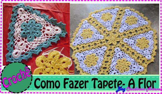 Como Fazer Tapete Croche em Barbante com Flores Amarela