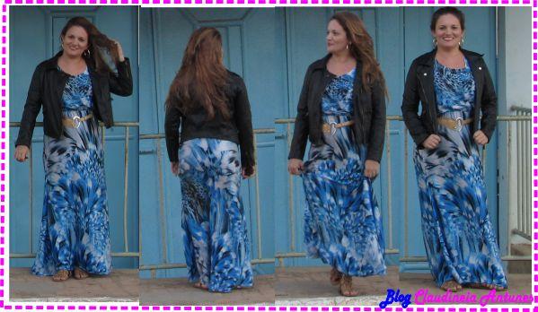 Moda Inverno – Jaqueta em Couro e Vestido Longo Estampado