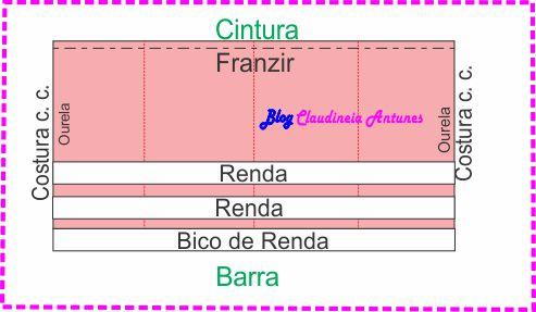 Molde Vestido Curto Com Alcinha e Saia Franzida-saia-3
