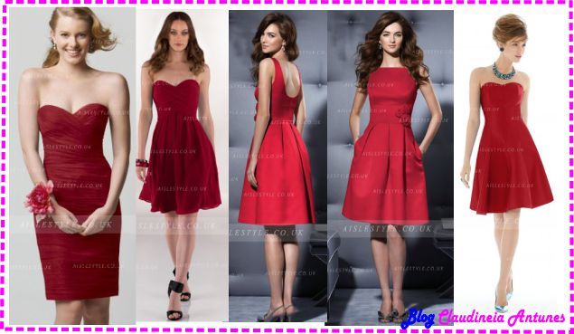 Modelo de Vestido de Madrinha Vermelho - Red Bridesmaid Dresses-curto