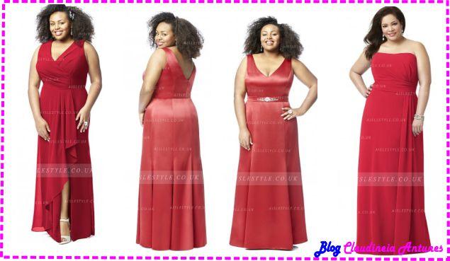 Modelo de Vestido de Madrinha Vermelho - Red Bridesmaid Dresses-plus-size
