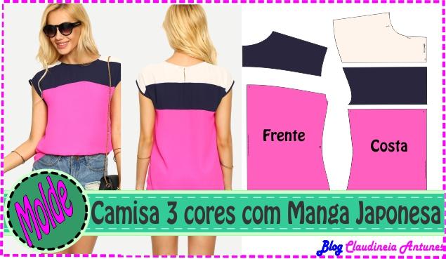 Molde Camisa 3 Cores com Manga Japonesa- Rosa-Azul-Branco