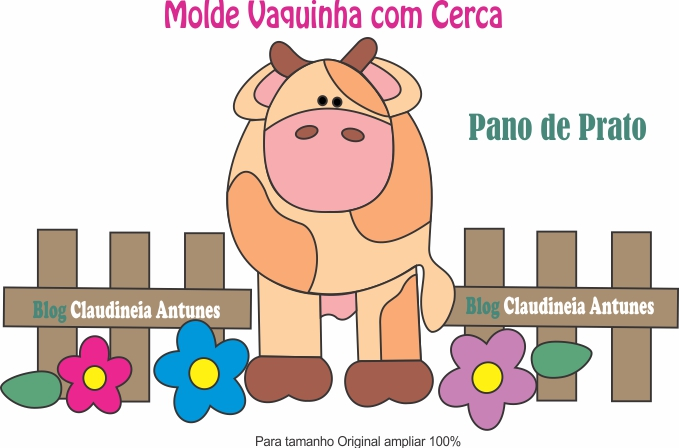 Molde Vaquinha com Cerca – Pano de Prato com Patch Aplique