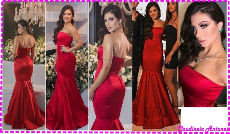 Vestido Longo Vermelho Flavia Pavenelli Festa 19 anos-Interpretação de Modelo e Modelagem