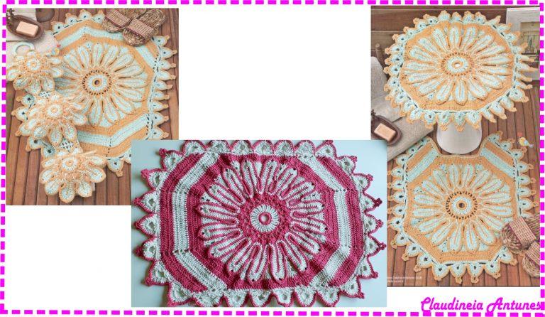 Um Luxo Só – Jogo de Tapetes para Banheiro em Crochê com Barbante